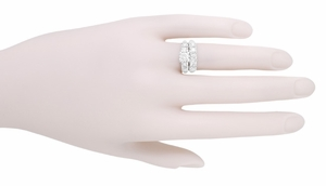 Mid Century Vintage Style Diamond Engagement Ring in 14 Karat White Gold - Item R728WD - Image 5