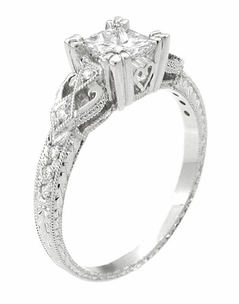 Art Deco Loving Hearts 1 Carat Princess Cut Diamond Antique Style Engagement Ring in 18K White Gold | Heirloom Engraved - Item R459W1D - Image 1
