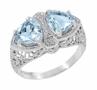 Art Deco Loving Duo Filigree Blue Topaz Ring in 14 Karat White Gold