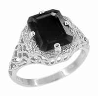 Art Deco Flowers and Leaves Black Onyx Filigree Ring in Sterling Silver