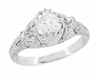 Edwardian Antique Style 1 Carat Diamond Filigree Engagement Ring in 18 Karat White Gold