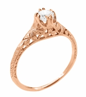 Art Deco Filigree Flowers and Wheat 1/3 Carat Engraved Engagement Ring Setting in 14K Rose Gold | Replica Ring Mount