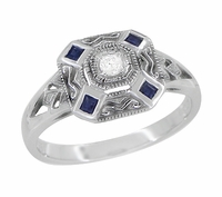 Art Deco Square Sapphires and Diamond Engraved Engagement Ring in Sterling Silver