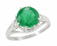 Regal Emerald Crown Engagement Ring in 14 Karat White Gold