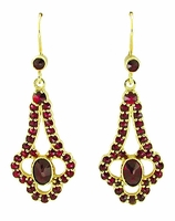 Victorian Bohemian Garnet Drop Earrings in 14 Karat Gold and Sterling Silver Vermeil
