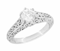 Flowing Scrolls Diamond Filigree Edwardian Engagement Ring in 14 Karat White Gold