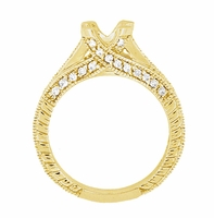 X & O Kisses 3/4 Carat Diamond Engagement Ring Setting in 18 Karat Yellow Gold