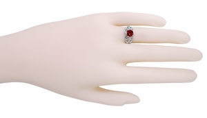 Edwardian Filigree Almandine Garnet Ring in Sterling Silver - Click to enlarge