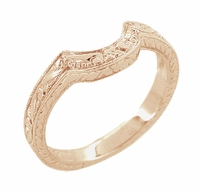 Vintage Engraved Wheat and Scrolls 14 Karat Rose Gold Curved Wedding Band