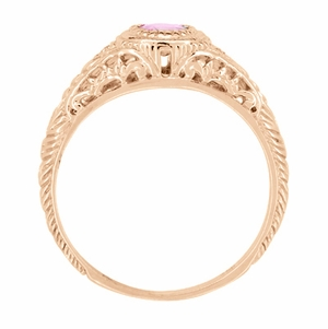 Art Deco Engraved Pink Sapphire and Diamond Filigree Engagement Ring in 14 Karat Rose Gold - Click to enlarge