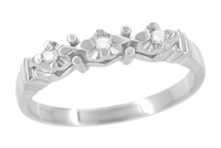 Retro Moderne Starburst Galaxy Wedding Ring in 14 Karat White Gold