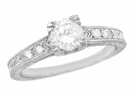 Engraved Art Deco Diamond Engagement Ring in 18 Karat White Gold