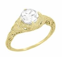 Art Deco Filigree Engraved 1.20 Carat Diamond Solitaire Engagement Ring in 14 Karat Yellow Gold