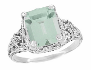 Edwardian Filigree Emerald Cut Prasiolite ( Green Amethyst ) Ring in Sterling Silver