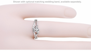 Retro Moderne Rose Diamond Engagement Ring in 14 Karat White Gold - Item R377 - Image 2