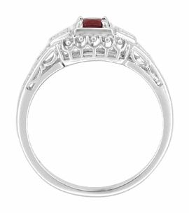 Art Deco Filigree Ruby Promise Ring in Sterling Silver with Diamond Side Stones - Item SSR228R - Image 1