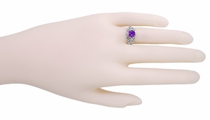 Edwardian Filigree Amethyst Ring in Sterling Silver - Item SSR1 - Image 2