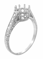 Royal Crown 1/2 Carat Antique Style Engraved Platinum Engagement Ring Setting