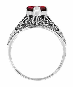 Edwardian Filigree Ruby Engagement Ring in Sterling Silver - Click to enlarge