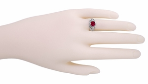 Edwardian Filigree Ruby Promise Ring in Sterling Silver - Item SSR1R - Image 2