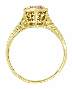 Art Deco Pink Sapphire Filigree Engagement Ring in 14 Karat Yellow Gold - Click to enlarge