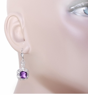 Art Deco Filigree Cushion Cut Amethyst Drop Earrings in Sterling Silver - Click to enlarge