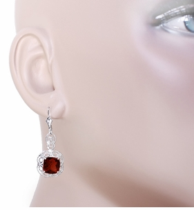Art Deco Filigree Cushion Cut Almandine Garnet Drop Earrings in Sterling Silver - Click to enlarge