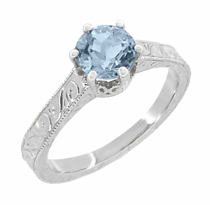 Art Deco Crown Filigree Scrolls Sky Blue Topaz Engagement Ring in Sterling Silver - Click to enlarge