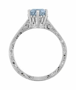 Art Deco Crown Filigree Scrolls Sky Blue Topaz Engagement Ring in Sterling Silver - Item SSR199BT - Image 4