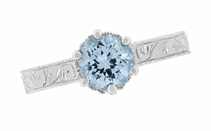 Art Deco Crown Filigree Scrolls Sky Blue Topaz Engagement Ring in Sterling Silver - Item SSR199BT - Image 5