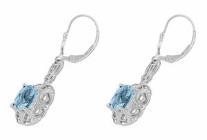 Art Deco Filigree Cushion Cut Sky Blue Topaz Drop Earrings in Sterling Silver - 1920's Gatsby Earring Style - Item E166BT - Image 1