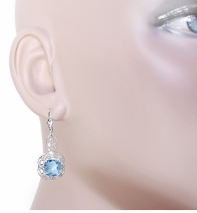 Art Deco Filigree Cushion Cut Sky Blue Topaz Drop Earrings in Sterling Silver - 1920's Gatsby Earring Style - Click to enlarge