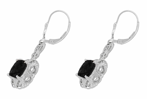 Art Deco Filigree Cushion Cut Black Onyx Drop Earrings in Sterling Silver - Click to enlarge