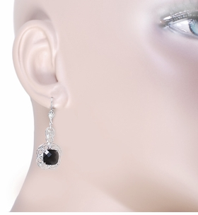 Filigree Cushion Cut Black Onyx Art Deco Drop Earrings in Sterling Silver - Item E166on - Image 2