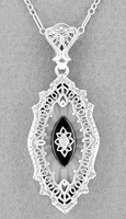 Art Deco Onyx and Crystal Diamond Set Filigree Pendant Necklace in Sterling Silver