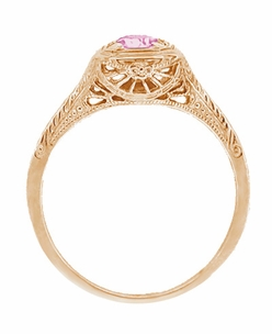 Filigree Scrolls Engraved Pink Sapphire Engagement  Ring in 14 Karat Rose ( Pink ) Gold - Click to enlarge