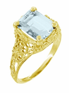 Emerald Cut Aquamarine Edwardian Filigree Engagement Ring in 14 Karat Gold - Click to enlarge