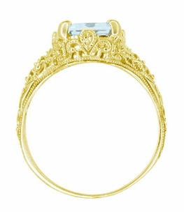 Emerald Cut Aquamarine Edwardian Filigree Engagement Ring in 14 Karat Yellow Gold - Click to enlarge