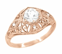 White Sapphire Filigree Scroll Dome Edwardian Engagement Ring in 14 Karat Rose Gold