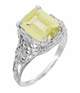 Edwardian Filigree Yellow Lemon Quartz Ring in Sterling Silver - Item SSR618LQ - Image 1