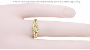 Retro Moderne Rose White Sapphire Engagement Ring in 14 Karat Yellow Gold - Item R377YWS - Image 2