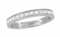 Art Deco Engraved Wheat Diamond Eternity Wedding Band in Platinum