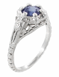 Art Deco Filigree Flowers Sapphire Engagement Ring in 14 Karat White Gold - Click to enlarge