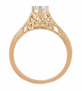 Art Deco Crown of Leaves Vintage Filigree 1/2 Carat Diamond Solitaire Engagement Ring in 14 Karat Rose Gold - Click to enlarge