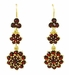 Victorian Bohemian Garnet Floral Double Drop Earrings in 14 Karat Yellow Gold and Sterling Silver Vermeil