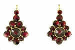 Victorian Bohemian Garnet Earrings in 14 Karat Yellow Gold and Sterling Silver Vermeil