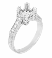 Art Deco 3/4 Carat Princess Cut Diamond Engagement Ring Mounting in Platinum