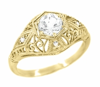 Antique Inspired White Sapphire Scroll Dome Filigree Edwardian Engagement Ring in 14K Yellow Gold