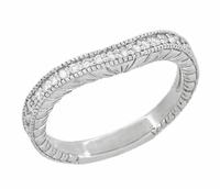 Art Deco 14 Karat White Gold Wheat Engraved Curved Diamond Wedding Band
