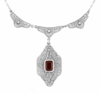 Art Deco Filigree Almandite Garnet Drop Pendant Vintage Necklace in Sterling Silver